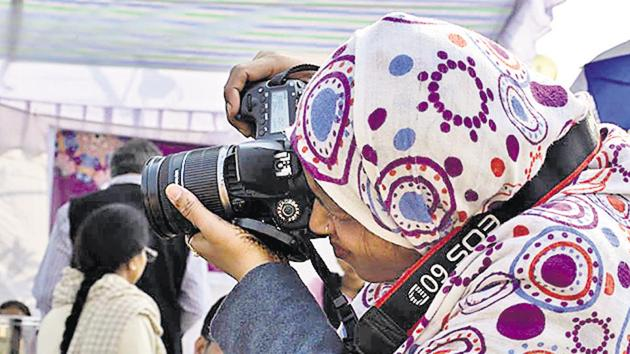 Kaikashan Beg, 38, started working as a videographer after 12 years of marriage. Muslim women from underprivileged backgrounds are using technology and training to turn their lives around.(Sanatkada)