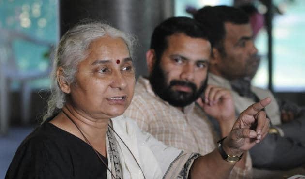 "Narmada Bachao Andolan activist Medha Patkar said the state was ""trying to convert Narmada into a lake"".(Mujeeb Faruqui/HT photo)"