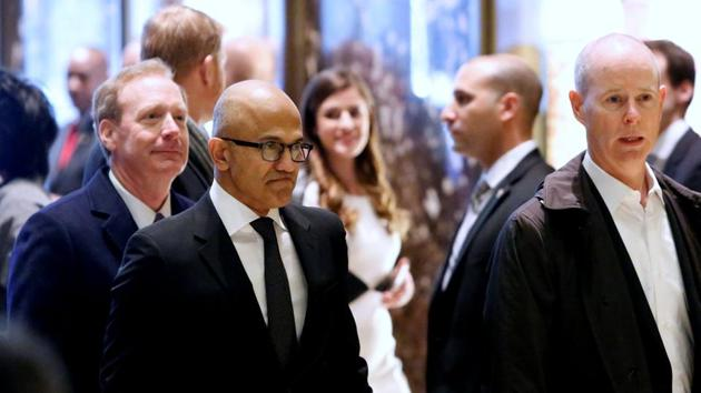 Microsoft CEO Satya Nadella enters Trump Tower ahead of a meeting of technology leaders with president-elect Donald Trump.(Reuters Photo)