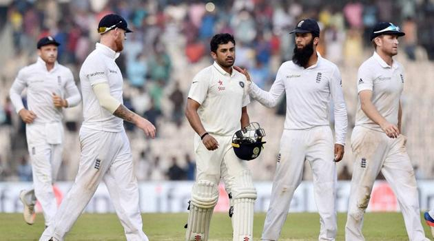 Chennai: India's Karun Nair being congratulated by England players as he leaves the ground after scoring his triple century.(PTI)
