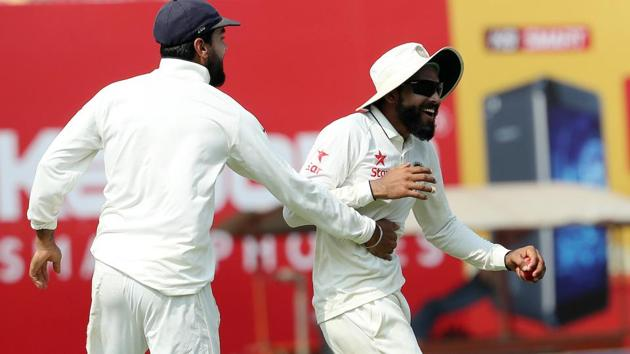 Ravindra Jadeja picked up three wickets as India continued to push towards a 4-0 series win. Catch live cricket score and live ball-by-ball updates here.(BCCI)