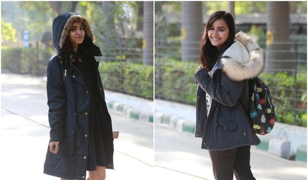 Delhi University students flaunt their winter ensemble.(Amal KS/HT)