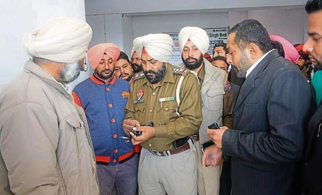 Police investigating the local court complex in Batala on Thursday.(HT Photo)