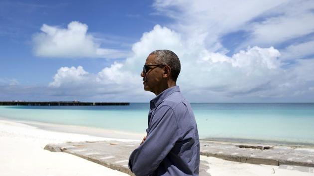 President Barack Obama tours Midway Atoll in the Papahanaumokuakea Marine National Monument, Northwestern Hawaiian Islands in September.(AP file photo)