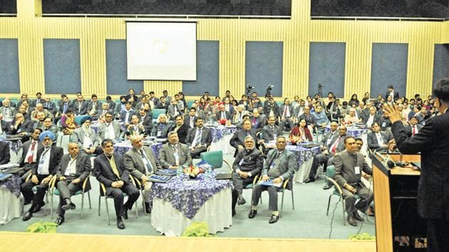 Eighty nine vice-chancellors of state, private, public and Central universities attended the two-day AIU North Zone Vice Chancellors' Meet at Amity University in Sector 125.(Burhaan Kinu/HT Photo)