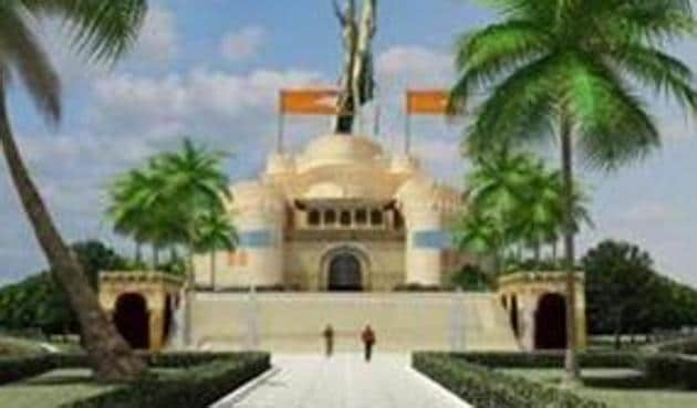 The main feature of the memorial will be a 192-metre-tall statue of the Maratha king.(HT)