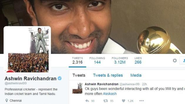Ravichandran Ashwin's popularity in Tamil Nadu has soared after winning two ICC awards.(Twitter)
