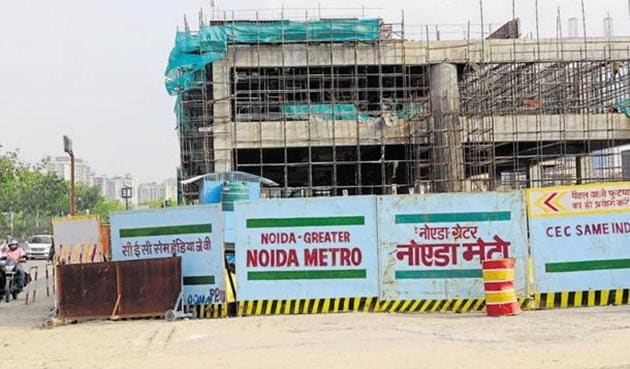 The Noida Authority approved the funding pattern of Noida–Greater Noida Metro Rail Project at its Board meeting in Lucknow.(HT File Photo)