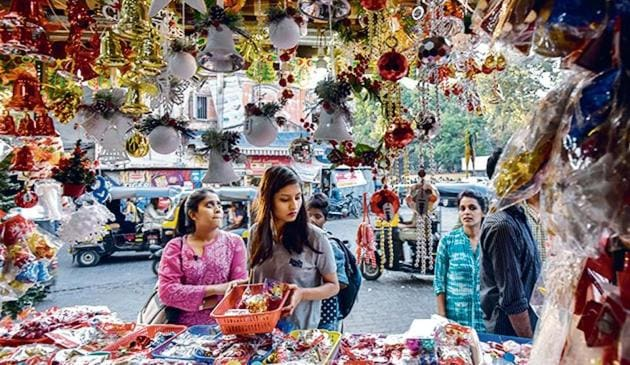 Sales of Christmas accessories have taken a hit, as people struggle to get hold of enough cash.(Kunal Patil/ Hindustan Times)
