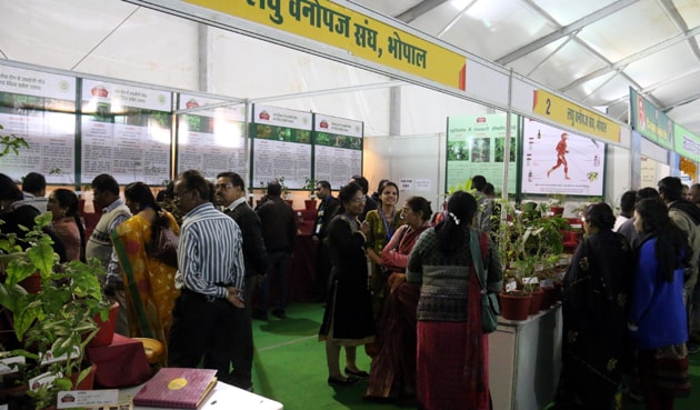 People having a look at the products available at the van mela in Bhopal.