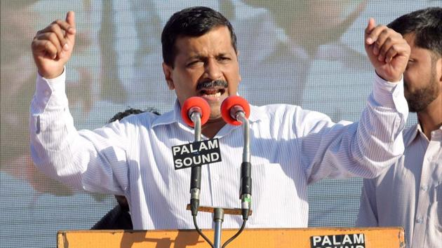 Delhi Chief Minister and AAP convener Arvind Kejriwal addresses during the party's' Rally' at Ramlila Maidan in Jaipur on Friday.(PTI Photo)
