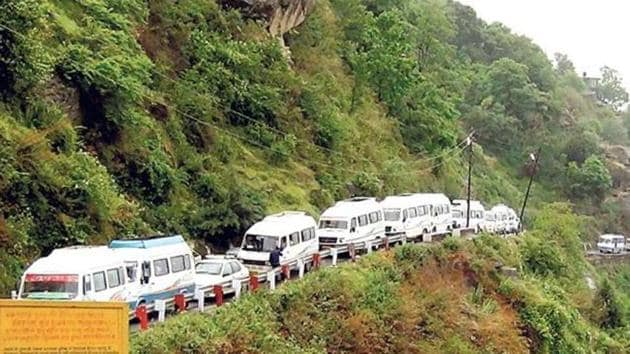 The roads leading to the four shrines of Kedarnath, Badrinath, Yamunotri and Gangotri, known as Chardham, is often hampered by rains and landslides during the monsoon season and had been destroyed during the 2013 floods.(HT Photo)