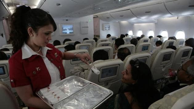 Aeroplance - Inflight - Cabin Crew - Interior of the Airbus A 380 during the vist at Mumbai's Chatrapati Shivaji International Airport on Wednesday. HT PHOTO BY MANOJ PATIL. 09/05/07