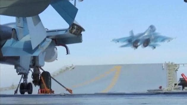 A still image taken from a video footage and released by Russia's Defence Ministry on November 15, 2016, shows a jet taking off from Russian Admiral Kuznetsov aircraft carrier near the coast of Syria.(Reuters)