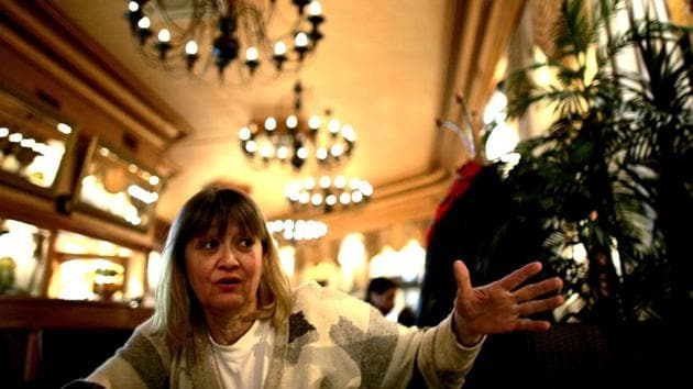 Vesna Vulovic, an ex-air stewardess, and survivor of a fall from 10,000 meters when in 1972 her plane was blown up in mid-fight by a bomb, gestures as she gives an interview to the Associated Press in Belgrade, Serbia.(AP File)