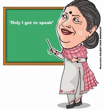 Punjab politicians can blame the heat for losing their cool while facing tough questions from the media. But what about those from the cooler climes of the neighbouring Himachal? Congress general secretary in-charge for Punjab, Asha Kumari, a former royal, believes she has the first right to speak.(Illustration By Daljeet Kaur Sandhu)