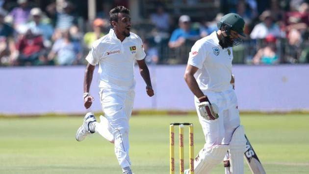 Suranga Lakmal's four-wicket haul helped Sri Lanka share honours with South Africa on Day 1 of the Port Elizabeth Test on Monday(AFP)