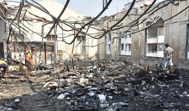 The fire destroyed books, wooden furniture and computers on the third floor of the institute.(Pratham Gokhale/HT PHOTO)