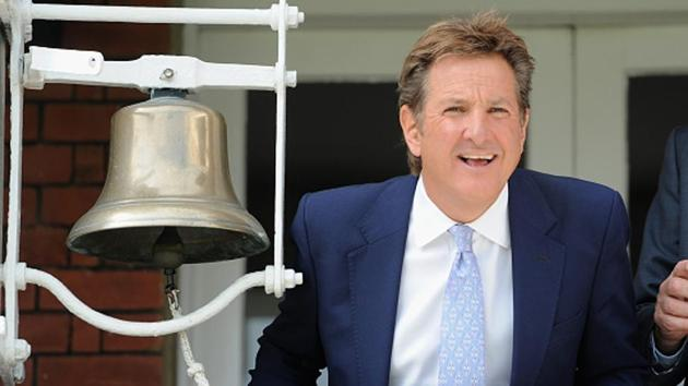 Former Hampshire captain Mark Nicholas rings the five-minute bell ahead of Day 2 of 1st Test match between England and New Zealand at Lord's Cricket Ground on May 22, 2015.(Getty Images)