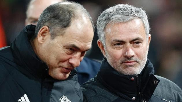 Manchester United manager Jose Mourinho (R) after their Premier League match against Crystal Palace.(AFP)