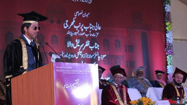 Shah Rukh Khan during a programme at Maulana Azad National Urdu University (MANUU) where he was conferred honorary doctorate for his extraordinary contribution in promotion of the Urdu language and culture through his films in Hyderabad.(IANS)
