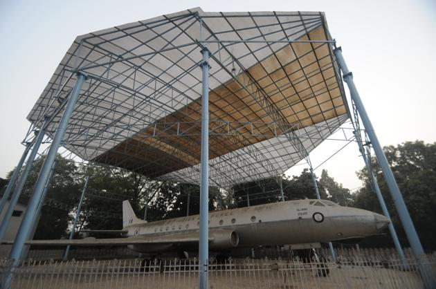 The historic Rajhans TU 124 aircraft, said to have been used by Pt Jawaharlal Nehru when he was the PM, parked on the state museum premises.(HT Photo)