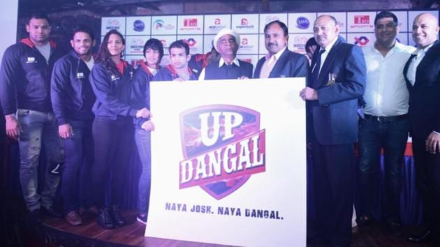 The UP franchise in the pro wrestling league has Geeta Phogat and Babita Phogat in their ranks, on whose lives Amir Khan's Dangal is based(HT Photo)
