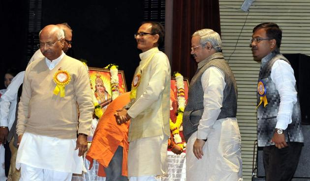 (from left) RSS SahsarkaryavahSuresh Soni, CM Shivraj Singh Chouhan and other guests at ABVP meet in Indore on Monday.(Arun Mondhe /HT photo)