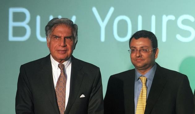 This file photo shows ousted Tata Sons chairman Cyrus Mistry with Rata Tata.(AFP)