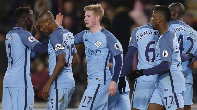 Manchester City jumped to second spot in the Premier League after securing a 3-0 win over Hull City.(REUTERS)