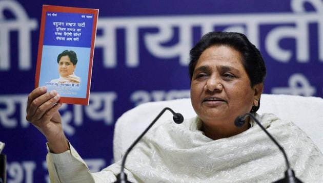 BSP supremo Mayawati at a press conference at the party office in Lucknow on Monday.(PTI)
