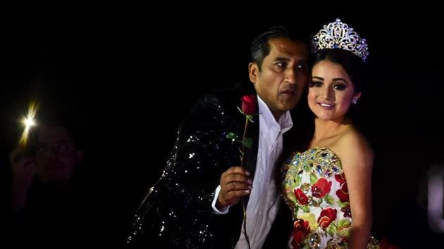 Rubi Ibarra poses during her 15th birthday celebrations in Villa Guadalupe, San Luis Potosi State.(AFP Photo)