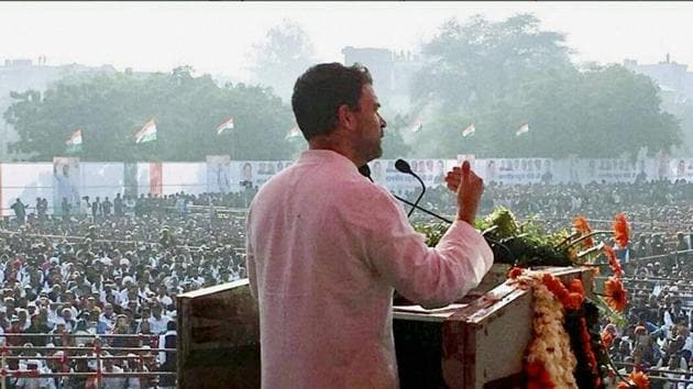 Congress vice-president Rahul Gandhi addresses a rally in Rajasthan's Baran on Monday.(PTI)