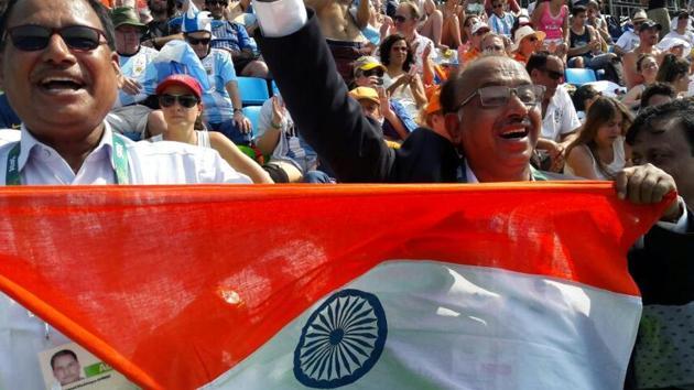 Sports minister Vijay Goel during the Rio Olympics 2016(HT Photo)