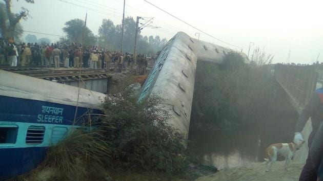 Two of the fifteen derailed bogies fell in the nearby canal(HT Photo)