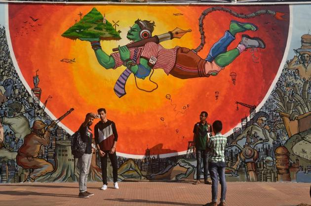 Abhinav Kafare's mural at IIT-B before being covered by Shiv sainiks, who claimed it was indecent.(HT photo)