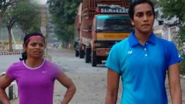 Dutee Chand, India's leading sprinter, has found a training partner in badminton star PV Sindhu in Hyderabad(HT Photo)