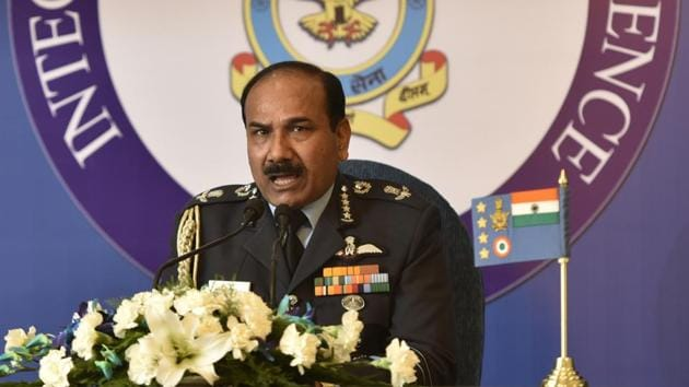 New Delhi, India - Dec. 28, 2016: Air Chief Marshal Arup Raha addressing a press conferees at Akash Officer's Mess in New Delhi, India, on Wednesday, December 28, 2016. (Photo by Sushil Kumar/ Hindustan Times)(Sushil Kumar/HT PHOTO)