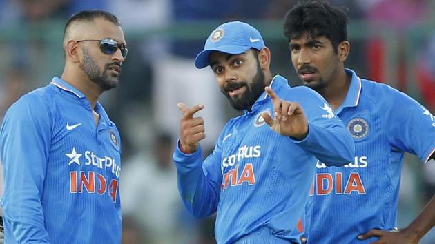 Virat Kohli and Jasprit Bumrah will be key members in MS Dhoni's Indian ODI and T20 teams for the series against England next year.(BCCI)