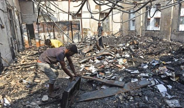 A fire gutted the library on Sunday morning.(Pratham Gokhale/HT PHOTO)