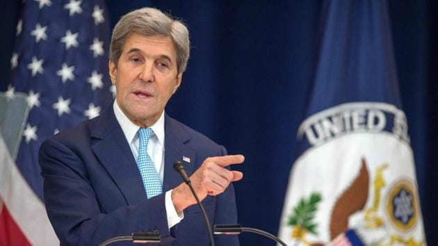 US secretary of state John Kerry lays out his vision for peace between Israel and the Palestinians.(AFP Photo)