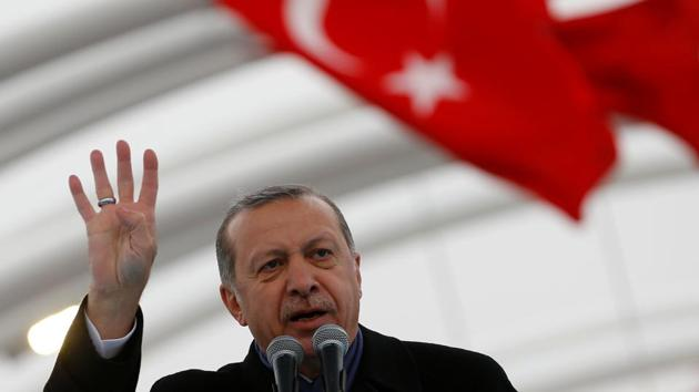 Turkish President Tayyip Erdogan makes a speech during the opening ceremony of Eurasia Tunnel in Istanbul, Turkey.(Reuters)