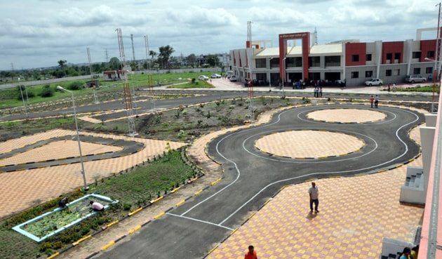 The newly built smart track in Indore.(Arun Mondhe/HT photo)