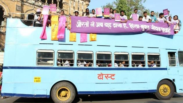 Akshara campaigning for women's safety in buses in 2013.(HT File Photo)