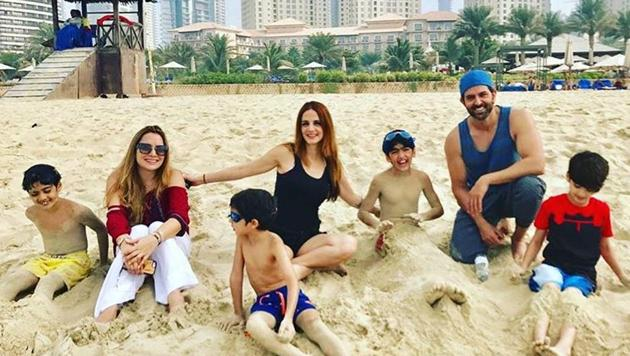Sussane Khan and Hrithik Roshan spotted at a Dubai beach with their kids.(Instagram/sukr)