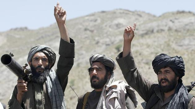 File photo of Taliban fighters in the Shindand district of Herat province, Afghanistan.(AP Photo)