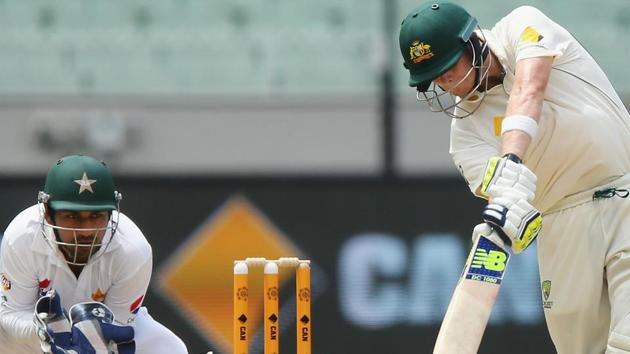 Steven Smith notched up his 17th century and second against Pakistan as Australia took the lead but they were frustrated by rain.(Getty Images)