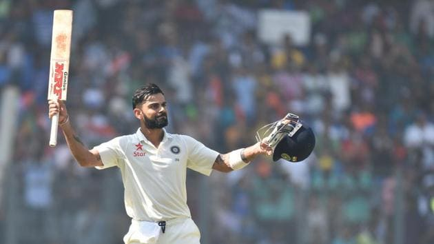 Virat Kohli enjoyed a stupendous year, scoring three double centuries, going 18 Tests without a loss and staying undefeated as captain.(Pratham Gokhale/HT PHOTO)