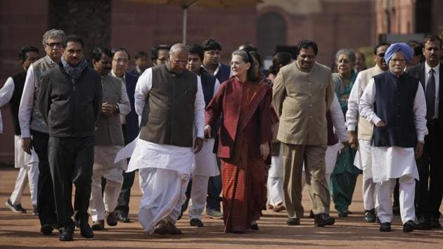 Indian lawmakers from opposition parties including Congress party president Sonia Gandhi during a protest against the government's demonetizing move in New Delhi on Dec 16.(AP File Photo)