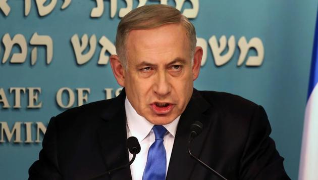 Israeli Prime Minister Benjamin Netanyahu delivers a statement to the press at his Jerusalem office on December 28 in response to a speech by US secretary of state John Kerry.(AFP Photo)